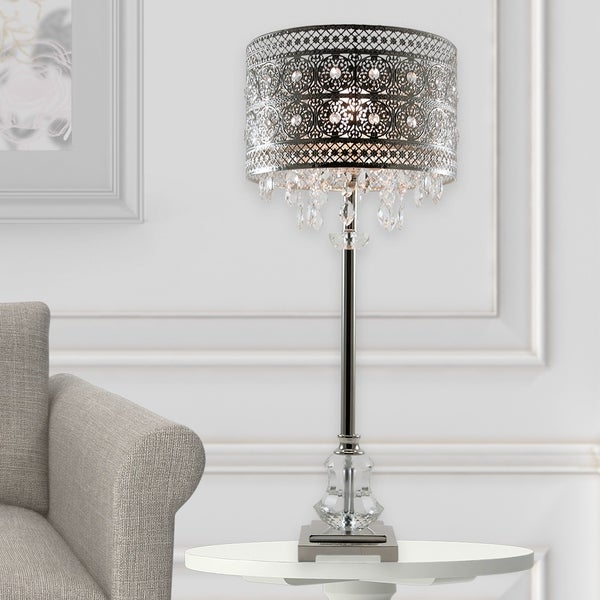 """28.75/""""H Brielle Polished Nickel /& Crystal 1-Light Buffet Table Lamp Silver"""