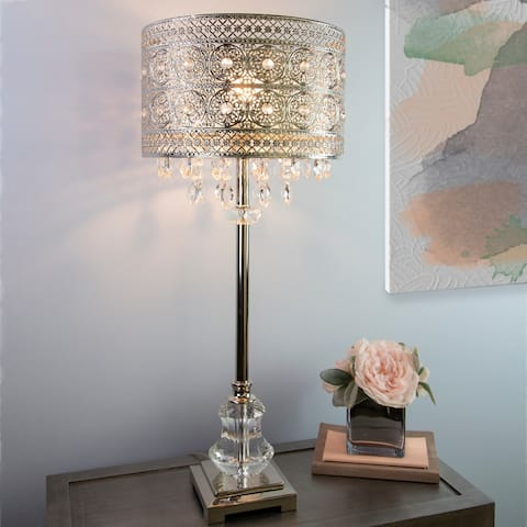 """Silver Orchid Brielle Polished Nickel and Crystal 1-light Buffet Table Lamp - 12.2""""L x 12.2""""W x 28.75""""H"""