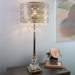 Silver Orchid Pollard Polished Nickel And Crystal 1 Light Buffet Table Lamp 12 2 L X 12 2 W X 28 75 H On Sale Overstock 27032845