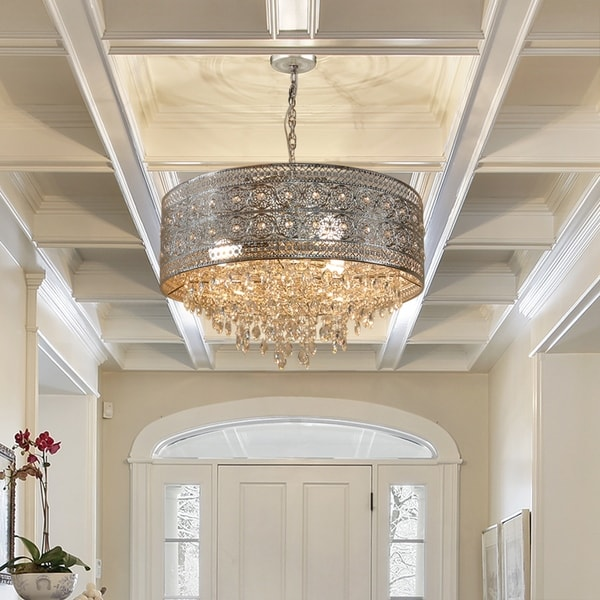 """Silver Orchid Swanson Polished Nickel/Crystal 3-light Chandelier - 23.625""""L x 23.625""""W x 15""""H. Opens flyout."""