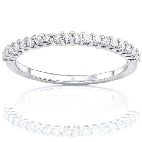 Annello by Kobelli 14k Gold 1/4ct Lab Grown Diamond Prong Semi-Eternity Women's Wedding Band