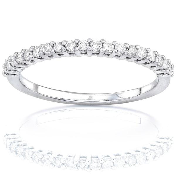 Annello by Kobelli 14k Gold 1/4ct Lab Grown Diamond Prong Semi-Eternity Women's Wedding Band. Opens flyout.