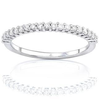 Annello by Kobelli 14k Gold 1/4ct Lab Grown Diamond Prong Semi-Eternity Women's Wedding Band