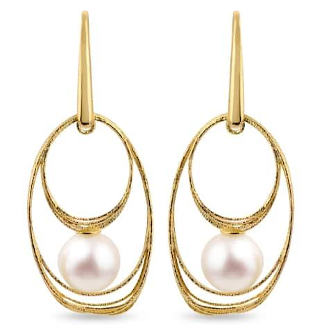 PearLustre by Imperial 14K Gold 7.5-8MM White Freshwater Pearl Oval Dangle Earrings