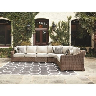 Link to Beachcroft 4-Piece Outdoor Sectional - LAF & RAF Loveseats, Curved Corner Chair & Armless Chair - Beige Similar Items in Outdoor Sofas, Chairs & Sectionals