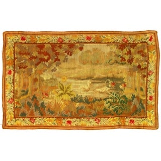 "Pasargad DC Late 19th Century Antique French Floral Tapestry - 3'5""x 5'4"""