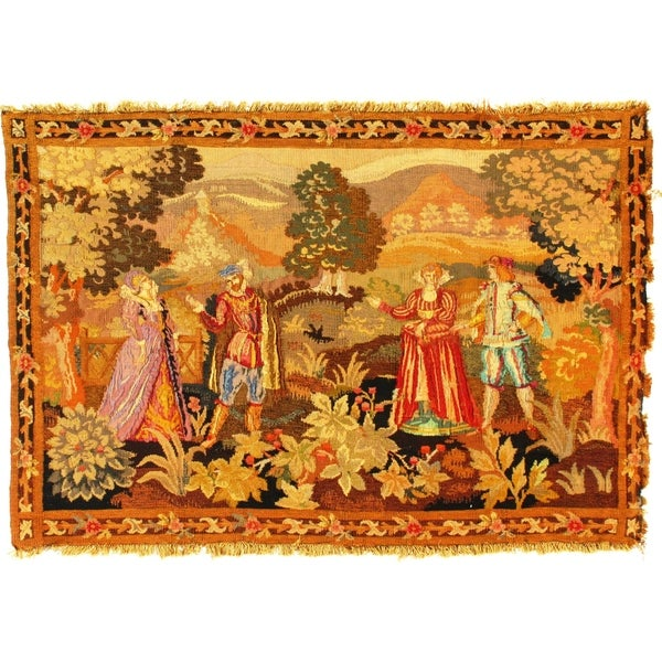 Pasargad DC Late 19th Century Antique French Floral Tapestry - 3′4″ × 5′