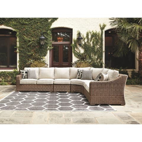 Beachcroft 5-Piece Outdoor Sectional - LAF & RAF Loveseats, Curved Corner Chair & 2 Armless Chairs - Beige