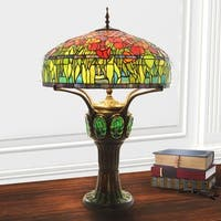 River of Goods 34-inch Green Glass/Iron Tiffany Style Tulip Stained Glass Table Lamp
