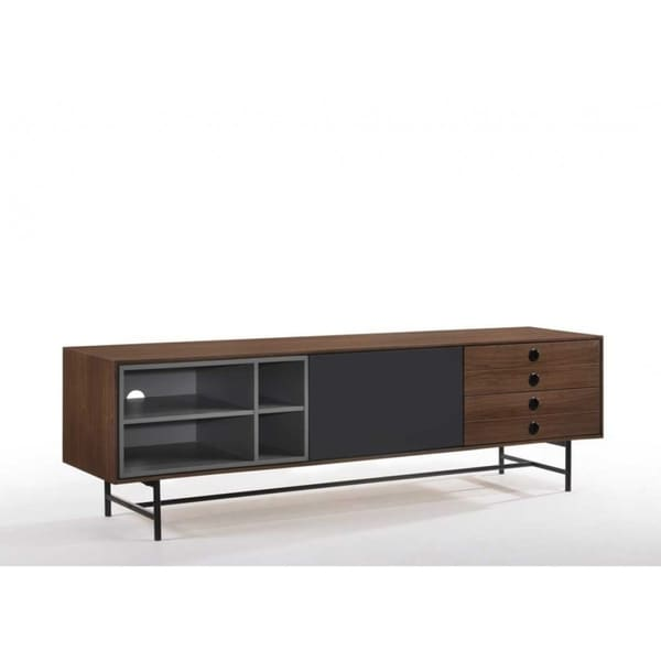 Carbon Loft Calacino Mid Century Modern Walnut And Grey Tv Stand On Free Shipping Today 27033632