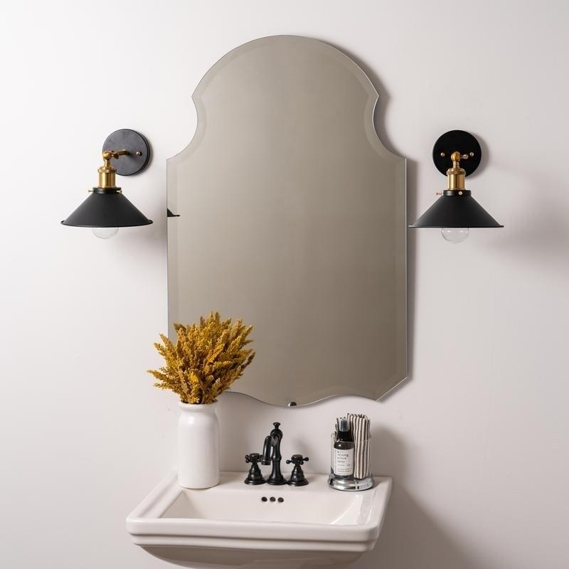 Kennedy Frameless Beveled Bathroom Wall Mirror Silver
