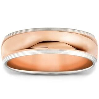 Pompeii3 14k Rose White Gold Two Tone High Polished 6mm Wedding Band Mens Ring
