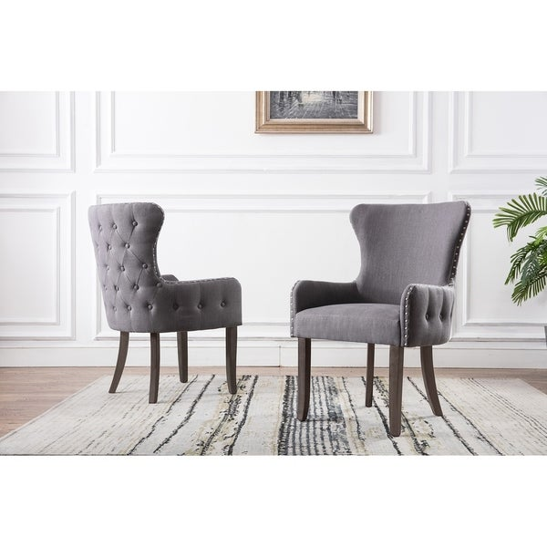 Best Quality Furniture Button Tufts Wingback Accent Chair in Navy Blue (As Is Item). Opens flyout.
