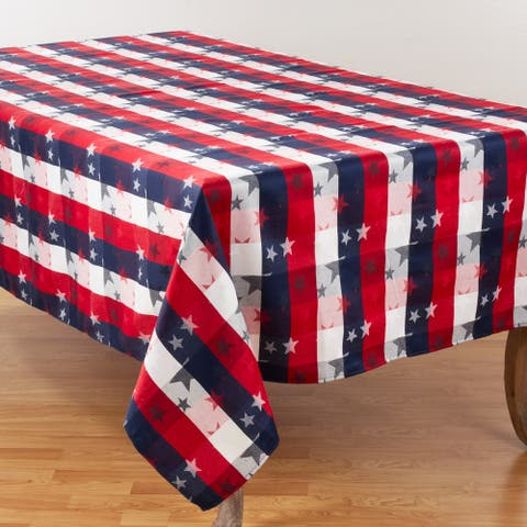 Patriotic Plaid & Star Design Table Tablecloth
