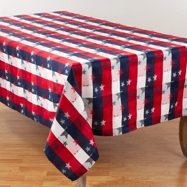 Patriotic Plaid & Star Design Table Tablecloth. Opens flyout.