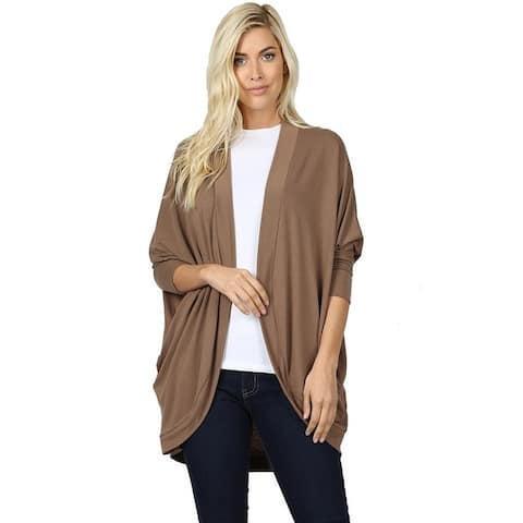 JED Women's 3/4 Sleeve Soft Knit Cocoon Cardigan
