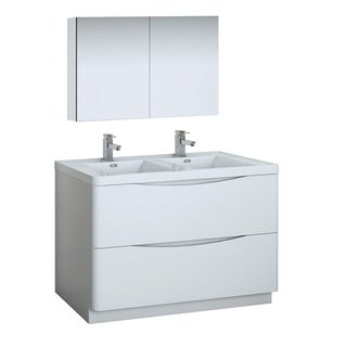 "Fresca Tuscany 48"" Glossy White Free Standing Double Sink Modern Bathroom Vanity w/ Medicine Cabinet"