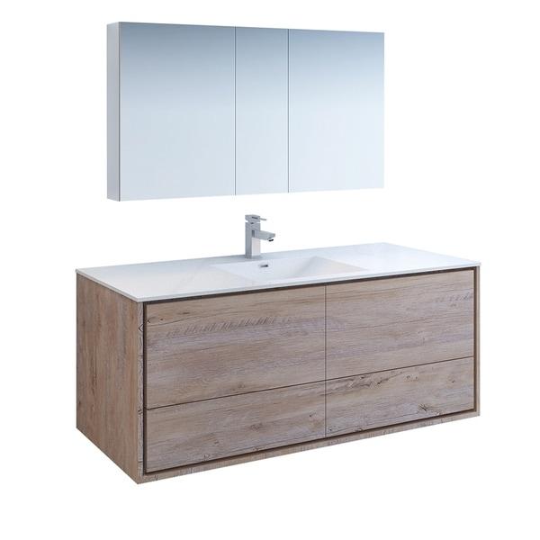 "Fresca Catania 60"" Rustic Natural Wood Wall Hung Single Sink Modern Bathroom Vanity w/ Medicine Cabinet"