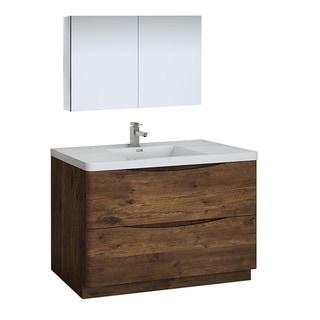 "Fresca Tuscany 48"" Rosewood Free Standing Modern Bathroom Vanity w/ Medicine Cabinet"