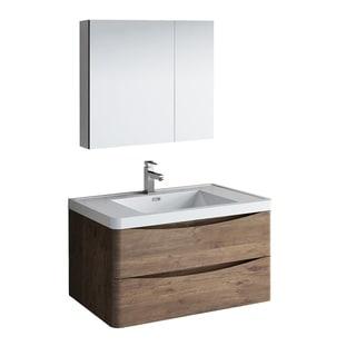 "Fresca Tuscany 36"" Rosewood Wall Hung Modern Bathroom Vanity w/ Medicine Cabinet"