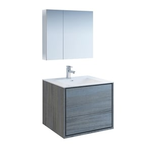 Shop Fresca Mezzo Teak 30 Inch Wall Hung Modern Bathroom