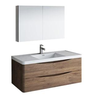 "Fresca Tuscany 48"" Rosewood Wall Hung Modern Bathroom Vanity w/ Medicine Cabinet"