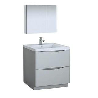 "Fresca Tuscany 32"" Glossy Gray Free Standing Modern Bathroom Vanity w/ Medicine Cabinet"