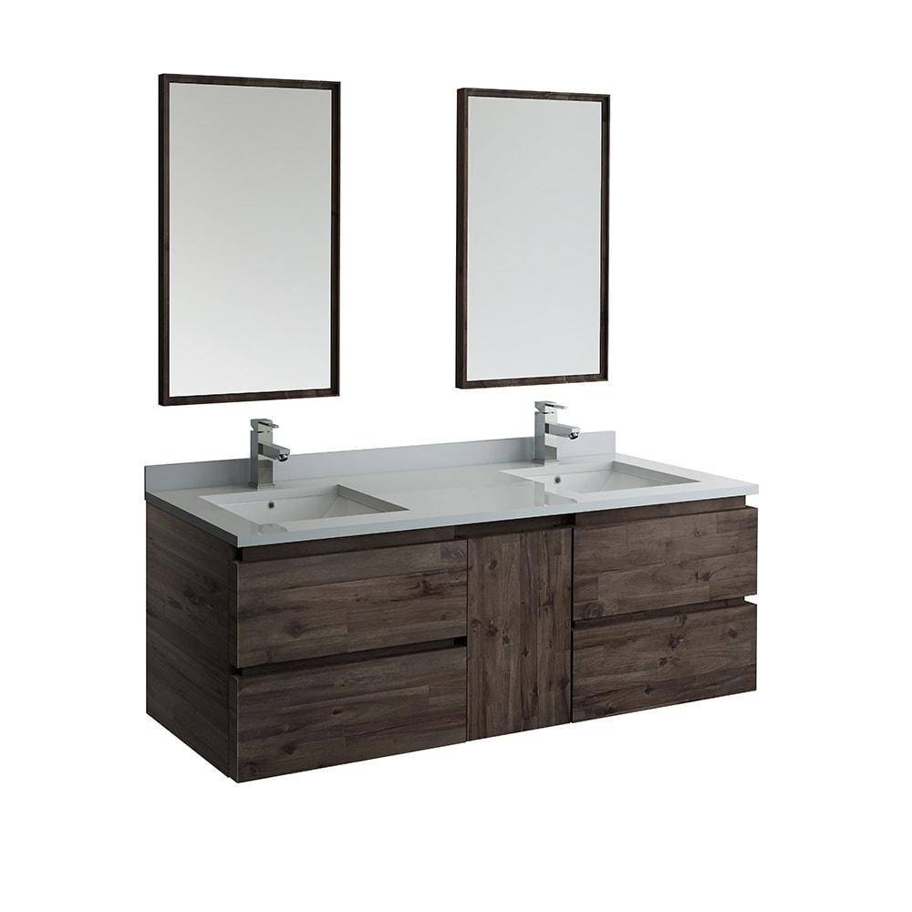 Fresca Formosa 60 Wall Hung Double Sink Modern Bathroom Vanity W Mirrors