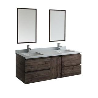 """Fresca Formosa 60"""" Wall Hung Double Sink Modern Bathroom Vanity w/ Mirrors"""