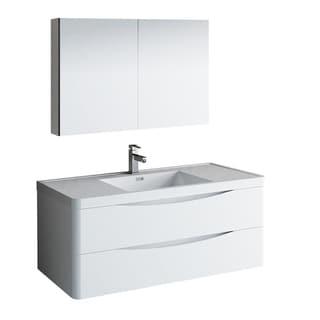 "Fresca Tuscany 48"" Glossy White Wall Hung Modern Bathroom Vanity w/ Medicine Cabinet"