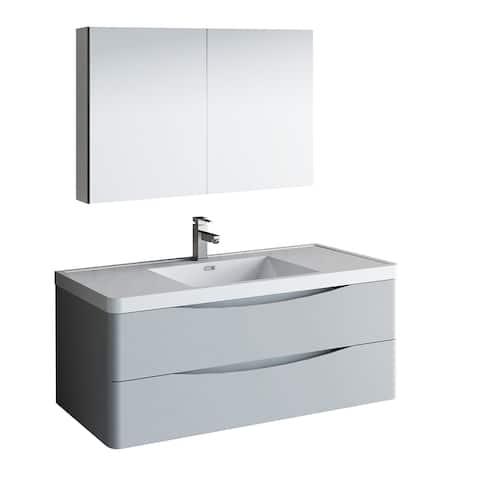 "Fresca Tuscany 48"" Glossy Gray Wall Hung Modern Bathroom Vanity w/ Medicine Cabinet"