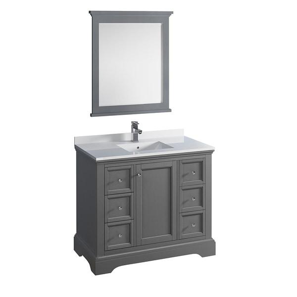 "Shop Fresca Windsor 40"" Gray Textured Traditional Bathroom ..."
