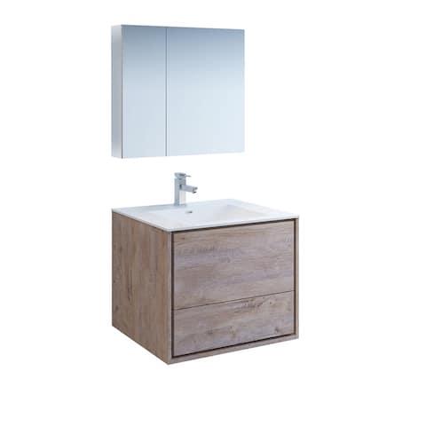 "Fresca Catania 30"" Rustic Natural Wood Wall Hung Modern Bathroom Vanity w/ Medicine Cabinet"