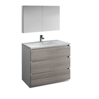"Fresca Lazzaro 42"" Glossy Ash Gray Free Standing Modern Bathroom Vanity w/ Medicine Cabinet"