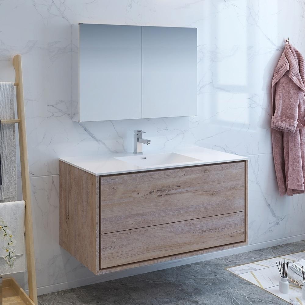 Fresca Catania 48 Rustic Natural Wood Wall Hung Modern Bathroom Vanity W Medicine Cabinet Overstock 27034132