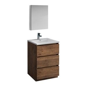 "Fresca Lazzaro 24"" Rosewood Free Standing Modern Bathroom Vanity w/ Medicine Cabinet"