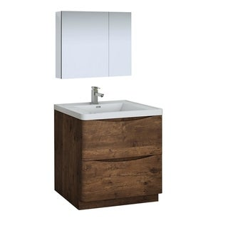 "Fresca Tuscany 32"" Rosewood Free Standing Modern Bathroom Vanity w/ Medicine Cabinet"