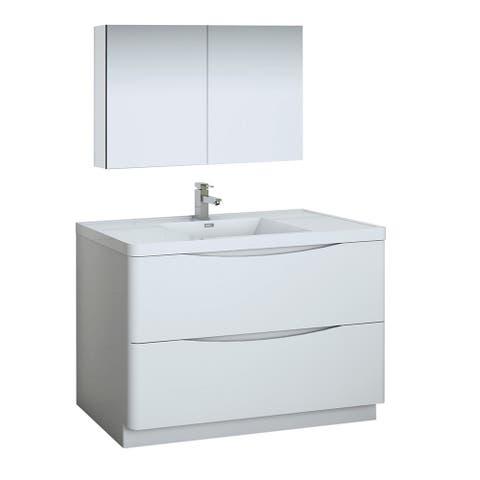 "Fresca Tuscany 48"" Glossy White Free Standing Modern Bathroom Vanity w/ Medicine Cabinet"