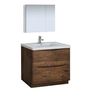 "Fresca Tuscany 36"" Rosewood Free Standing Modern Bathroom Vanity w/ Medicine Cabinet"