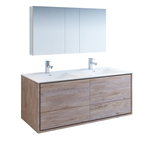 "Fresca Catania 60"" Rustic Natural Wood Wall Hung Double Sink Modern Bathroom Vanity w/ Medicine Cabinet"