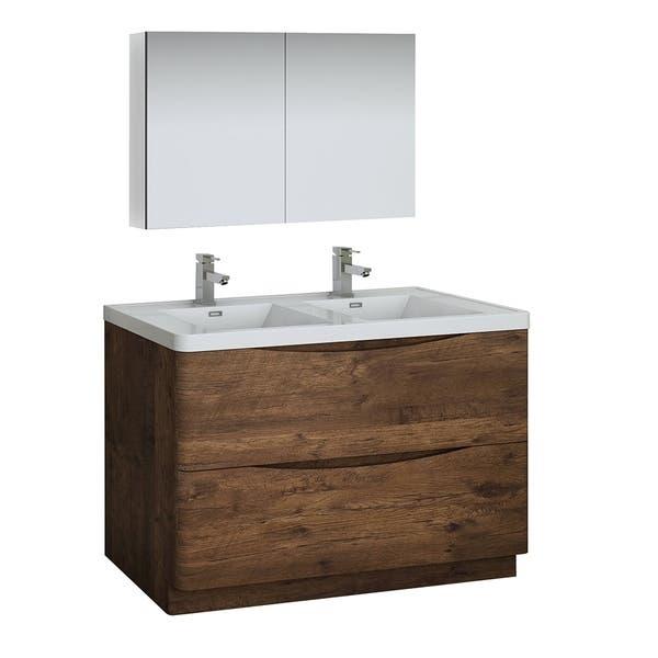 Fresca Tuscany 48 Rosewood Free Standing Double Sink Modern Bathroom Vanity W Medicine Cabinet Overstock 27034147