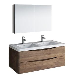 "Fresca Tuscany 48"" Rosewood Wall Hung Double Sink Modern Bathroom Vanity w/ Medicine Cabinet"