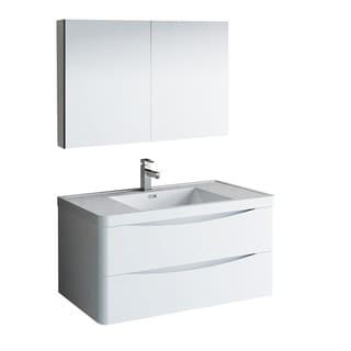 "Fresca Tuscany 40"" Glossy White Wall Hung Modern Bathroom Vanity w/ Medicine Cabinet"