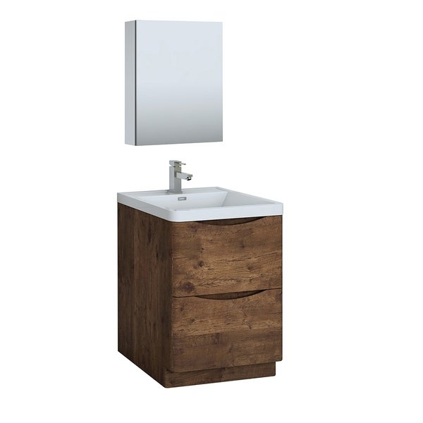 "Fresca Tuscany 24"" Rosewood Free Standing Modern Bathroom Vanity w/ Medicine Cabinet"