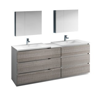 "Fresca Lazzaro 84"" Glossy Ash Gray Free Standing Double Sink Modern Bathroom Vanity w/ Medicine Cabinet"