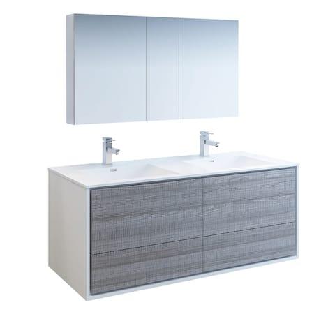 "Fresca Catania 60"" Glossy Ash Gray Wall Hung Double Sink Modern Bathroom Vanity w/ Medicine Cabinet"