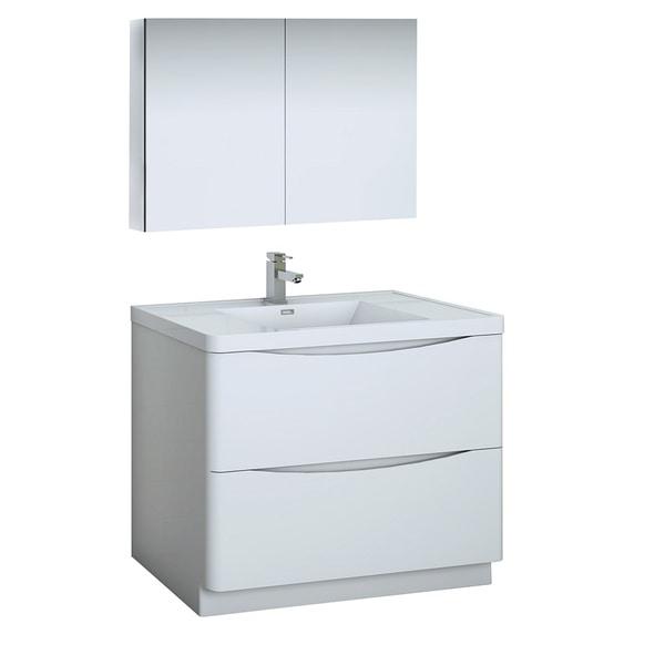"Fresca Tuscany 40"" Glossy White Free Standing Modern Bathroom Vanity w/ Medicine Cabinet"