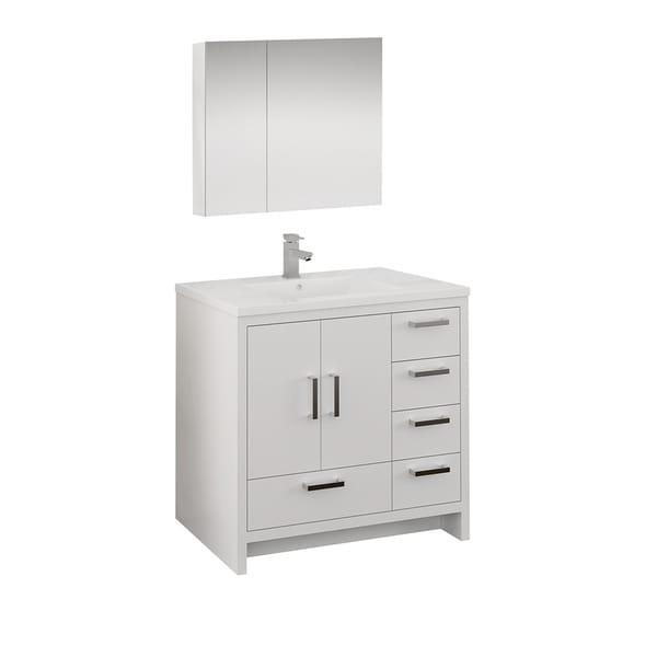 "Fresca Imperia 36"" Glossy White Free Standing Modern Bathroom Vanity w/ Medicine Cabinet - Right Version"
