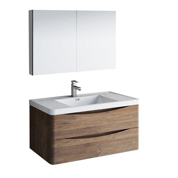 "Fresca Tuscany 40"" Rosewood Wall Hung Modern Bathroom Vanity w/ Medicine Cabinet"