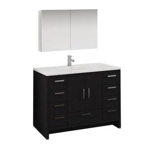 "Fresca Imperia 48"" Dark Gray Oak Free Standing Modern Bathroom Vanity w/ Medicine Cabinet"